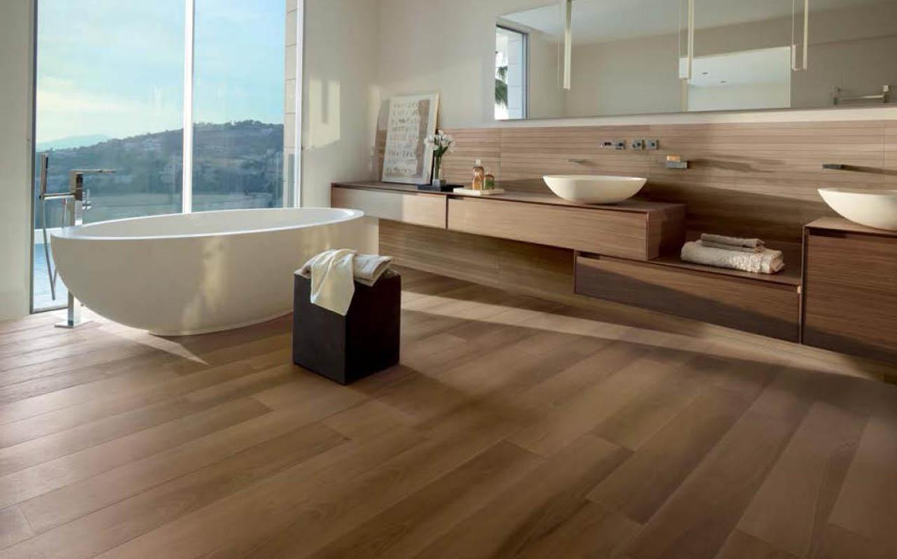 Collezioni bagno effetto legno pavimento in gres - Bagno con parquet ...